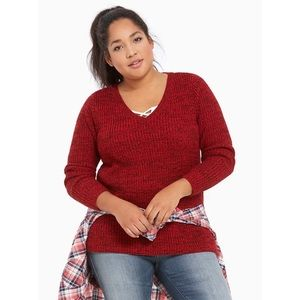 TORRID   Marled Red V-Neck Tunic Sweater Sz 0 or L